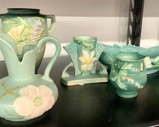 """beautiful Roseville collection! background: Vintage Roseville Pottery Freesia Green Handled Vase Marked Roseville USA 8 1/2"""", Vintage Roseville Pottery Clematis Blue Cornucopia Vase, Marked Roseville USA, Roseville Pottery Bleeding Heart Green Art Deco Small Vase 138-4"""