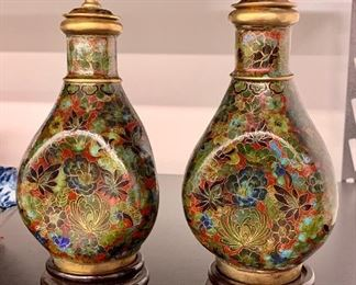 """Pair of Chinese Cloisonne' Baluster brass and enamel jars with covers and wooden stands 19th century, 8"""" tall"""