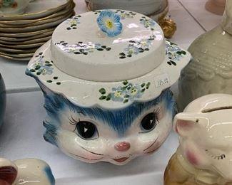 "Vintage Lefton blue kitty ""Miss Priss"" cookie jar"