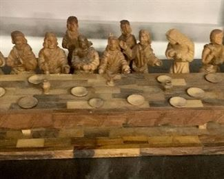 wooden carved last supper