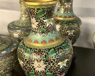 Pair of Baluster Cloisonne vases with stands 20th century