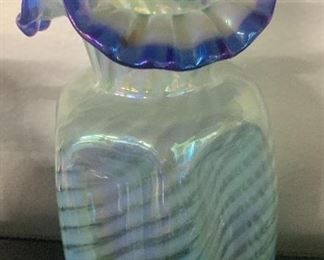 French opalescent spiral optic vase