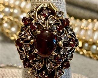 ruby cabochon and white topaz 14k gold statement ring