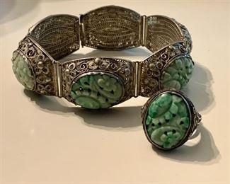 Chinese Peking glass silver bracelet and ring set