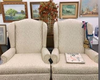 beautiful upholstered wing back chairs THESE ARE BEAUTIFUL!