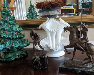 So many lovely collectors items. Fenton silver crest white horns, Richard Myers bronze sculpture, Porcelain Christmas tree