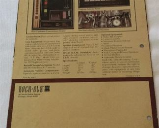 Rock-ola Integrated Circuit Solid State Stereophonic Music System Model 456.Phonograph Console Juke Box. Promotional Brochure.