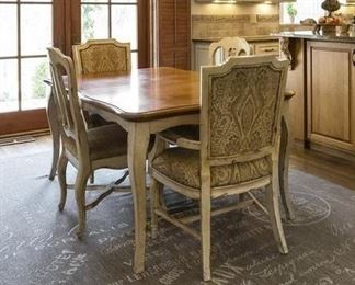 "table: 30 x 67 x 43, armchairs: 40 x 25 x 24, side chairs: 40 x 22 x 21, rug: 10'10"" x 7' 10"""