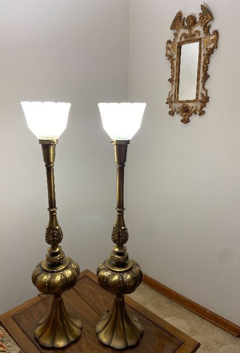 Pair Brass Vintage Torchiere Lamps