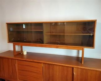 "Danish Teak Modern China Cabinet / Credenza /  Sideboard (Base 94 1/2"" L x 18 1/2"" W)"