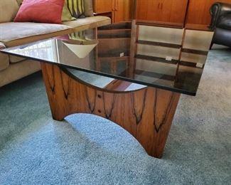 Teak and smoked glass top coffee table