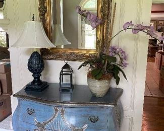 Very nice painted Bombay style chest, decor items and gold framed mirror.