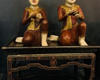 Asian Figures, Chinese Lacquer Stand