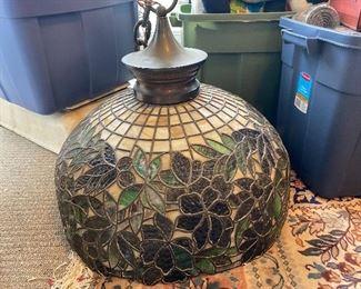 """24"""" diameter hanging leaded glass lamp"""