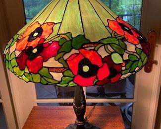 "Wilkinson Poppy leaded glass lamp 20""diameter x 28""H"