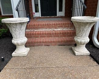 Massive cement flower pots, bring a dolly and strong arms for these lovely items.....