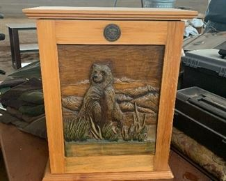 Wooden Box Bear Carving