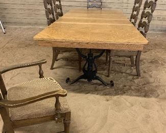 """AMAZING LONG HARVEST TABLE WITH TWO LEAVES, OPENS TO 101"""". CAST IRON LEGS"""
