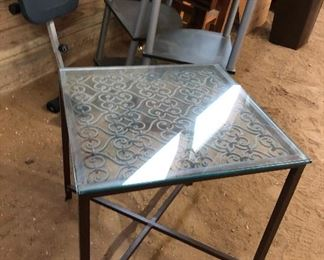 IRON TABLE WITH GLASS TOP