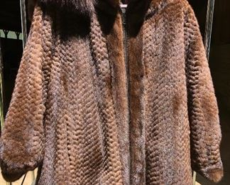 Mink Coat with detachable hood. So cute!