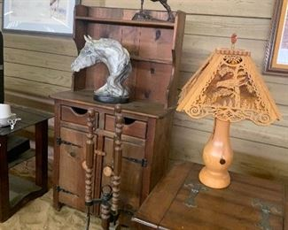 Pine hutch, End table, Wood Carved Birds Lamp and Lampshade