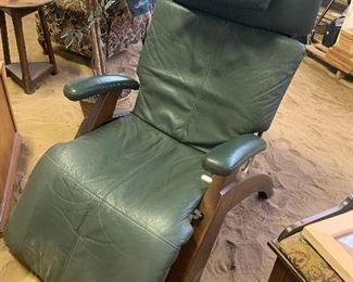 """The name of this super comfy chair is: """"Perfect Chair"""" Zero Gravity Recliner. Green Leather & Walnut Legs. GREAT condition. Do some research on these .... they are so comfortable!!"""