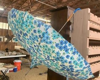 Vintage umbrella with blue handle