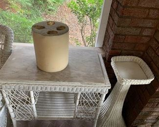 Wicker Plant Stand and Table