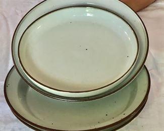 "$25 each - Selection Dansk  ""Brown Mist"" shallow serving bowls.  Three each 13"" diam, 2"" H.  One 11.25"" diam, 1.75"" H."