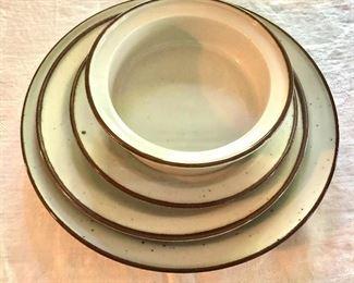 """Dansk  """"Brown Mist"""" dinner, salad, dessert plates and bowls"""