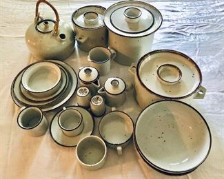 """Large collection of Dansk """"Brown Mist""""  dishes, serving pieces, flatware"""