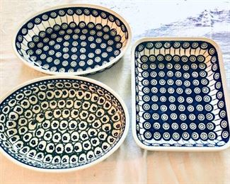 """$60 each - Poland blue and white and blue and green serving dishes.  Front left:  10.5"""" x 7.75"""".  Upper left: 10.5"""" x 7.5"""".  Right: 10"""" x 8""""."""