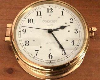 "$100 Trident Quartz Ship's Bell clock - Overall 7"" diam, 3""D; clock face 6.25"" diam."