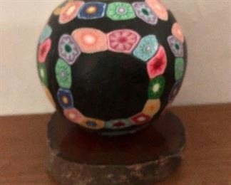 """$45 - Arts and crafts candle on geode stand.  4.75"""" H, base approx 4.5"""" diam."""