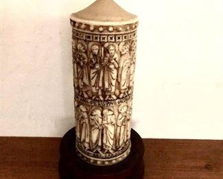 "$50 - Large candle on stand.  12"" H, 3.25"" diam; base 5.5"" diam."