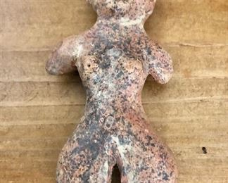 """$40 - Small carved figure.   4"""" H, 1.5"""" W."""
