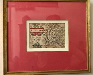 Framed engraved map of Wiltshire