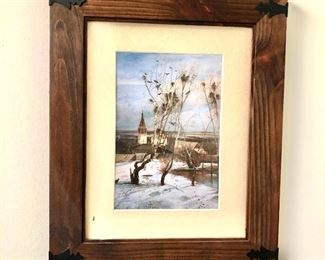 """$90 Landscape birds in trees photomechanical print in wood rustic frame.  16.75"""" H x 13.5"""" W."""