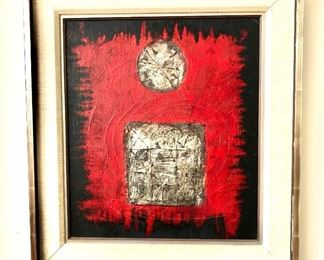 """$595 Pierre Jacquemon  (French 1936-2001) silver, acrylic collage oil on canvas signed.   21"""" H x 19"""" W."""