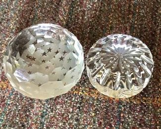 """$40 each - Glass paperweights. Left (3"""" diam, 2"""" H). Right (stars)(3.5"""" diam, 2.5"""" H)."""