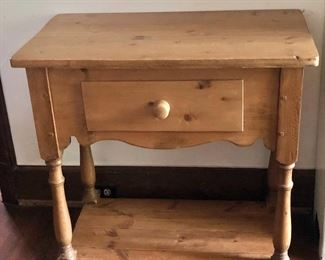 """$150 Country pine single-drawer side table - 30.75"""" H, 31"""" W, 18.75"""" D."""