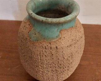 """$40 - Stoneware pot.  4"""" H, 3"""" diam."""
