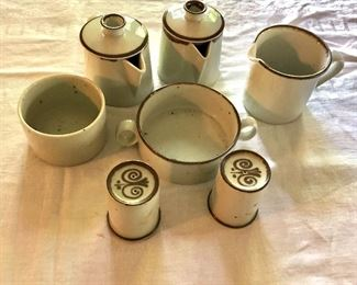 "Assortment of Dansk  ""Brown Mist"" items.  Salt and pepper shakers: each 3"" H, 2.25"" diam.  $40-Double - Handled waste bowl: 2"" H, 4.75"" diam.  $20 - Sugar bowl (open): 2.5"" H, 3.55"" diam.  $20 - Creamer: 3.5"" H, 3.75"" diam.  $20 each - Two individual teapots: each 4.25"" H, 3.5"" diam."