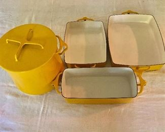 """Dansk baking dishes.  $60 Round covered casserole: 8"""" H, 9"""" diam.  $40 Loaf pan:SOLD  14.5"""" L, 5.25"""" W, 3.5"""" H.  $40 Small rectangular baker:  SOLD  14"""" L, 8"""" W, 2,25"""" H.   $40 Large rectangular baker SOLD :  16.25"""" L, 10"""" W, 2,25"""" H."""