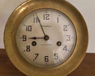"$60  Waterbury Ship's Clock Overall 6"" diam, 4""D; clock face 4"" diam."