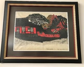 """$495 Kam Kamada signed (Japanese 20th century) woodblock print , characters on left dated 1971.  27.5"""" H x 32.5"""" W."""