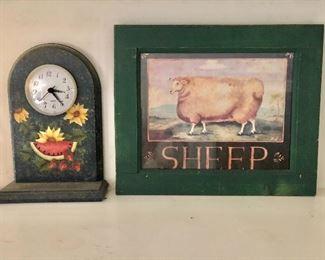 """$22 Each.  Clock as is , Sheep framed print.  Clock:  9.5"""" H, 6.5"""" W, 2.5"""" D.  Sheep print: 10""""5"""" H x 12.75"""" W."""