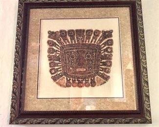 "$275  Aztec Mask rubbing  - Framed.  29"" H x 28"" W."