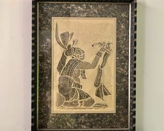 """$160 - Rubbing of a kneeling man 20th C signed  28"""" H x 20.5"""" W."""