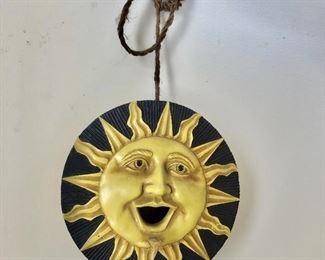 "$40 Hanging sun sculpture birdhouse! 9"" diam, 4"" D."